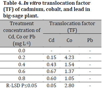 In vitro accumulation potentials of heavy metals in big-sage (Lantana camara L.) plant